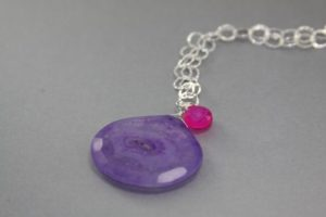 Purple Solar Quartz Necklace With Pink Chalcedony Gemstone
