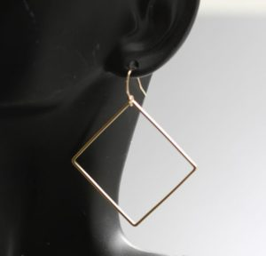 14k gold filled square earrings