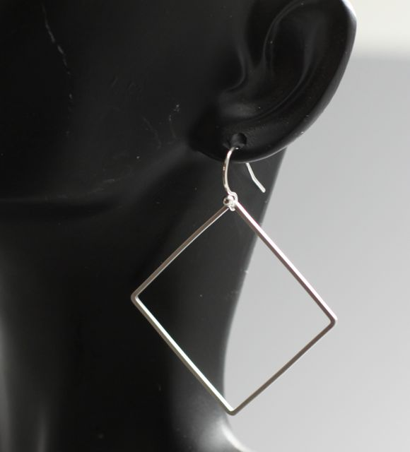 handmade silver square earrings