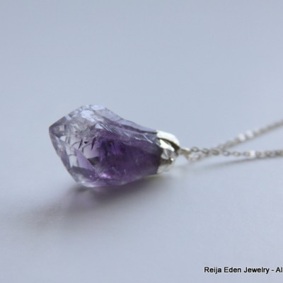 Rough Cut Amethyst Gemstone Necklace