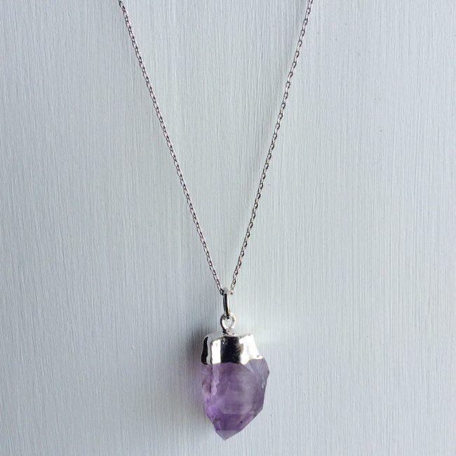 rough cut amethyst necklace