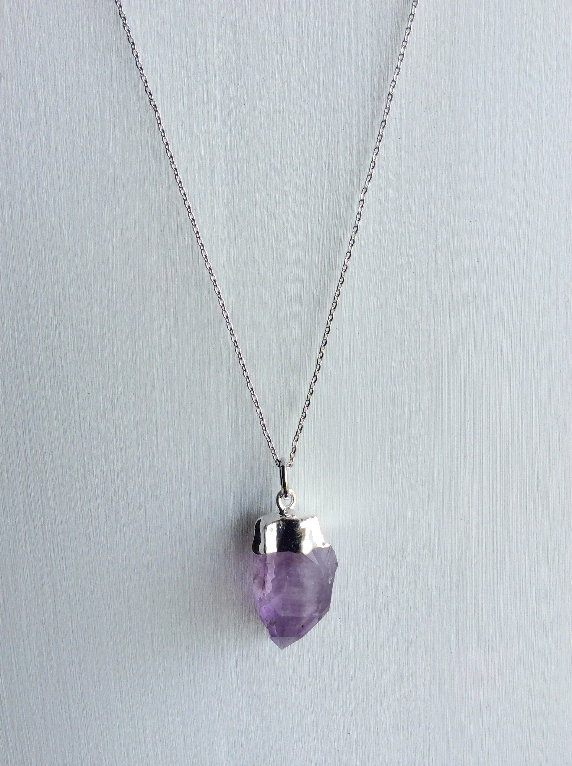 necklace amethyst slice pendant raw crystal geode druzy
