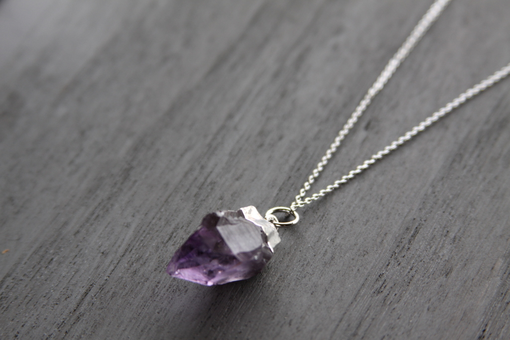 Silver rough cut amethyst necklace reija eden jewelry amethyst necklace aloadofball Gallery