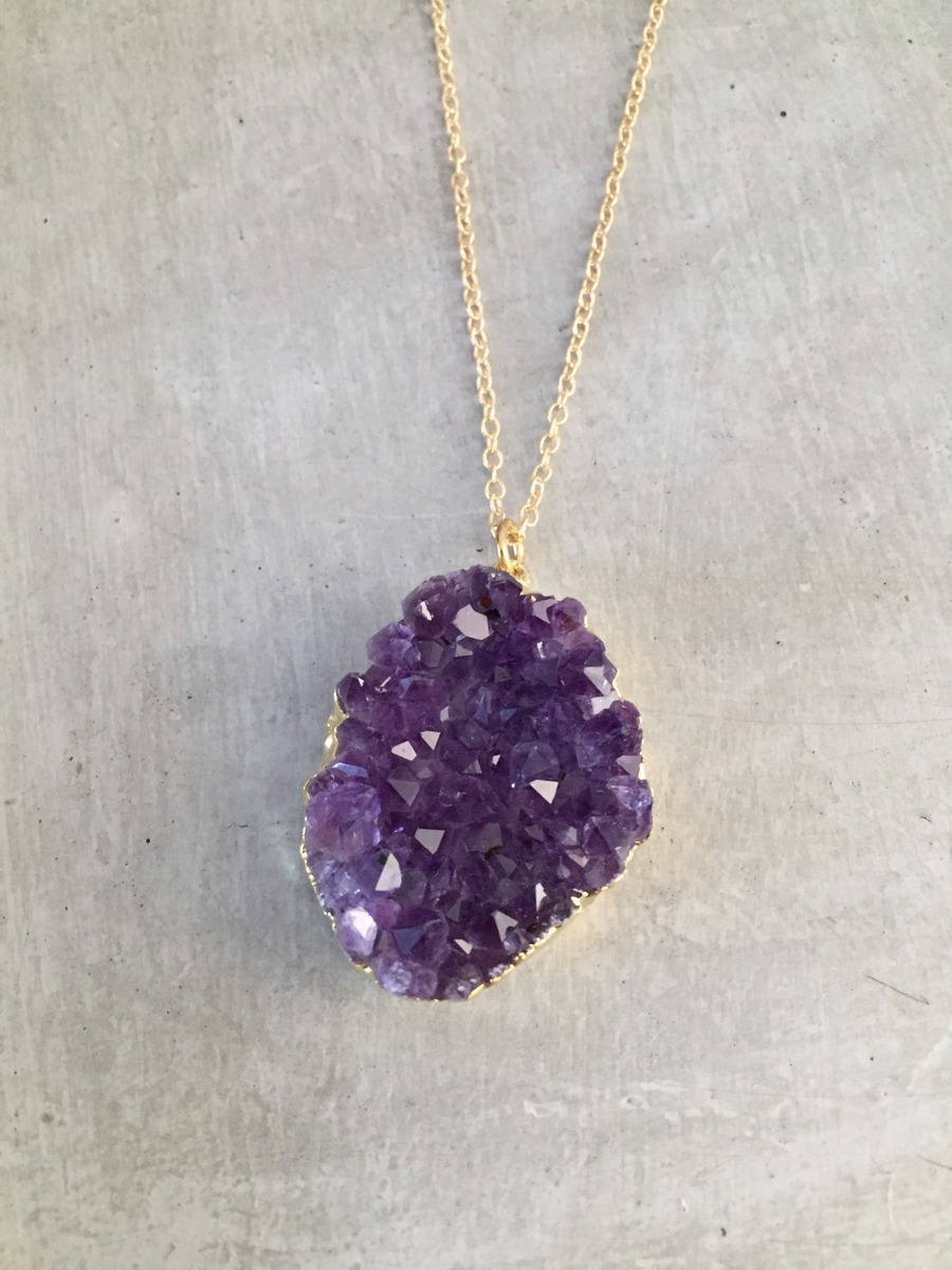 amethyst gold crystal point jewellery purple pendant chain necklace