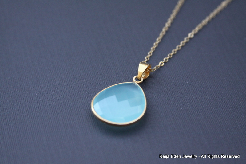 baby blue chalcedony necklace handmade jewelry by