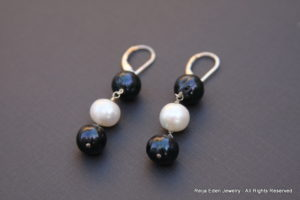 handmade pearl earrings - sterling silver