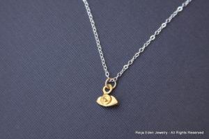 handmade tiny evil eye necklace