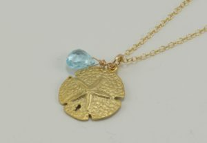 gold sand dollar necklace, gold sand dollar pendant