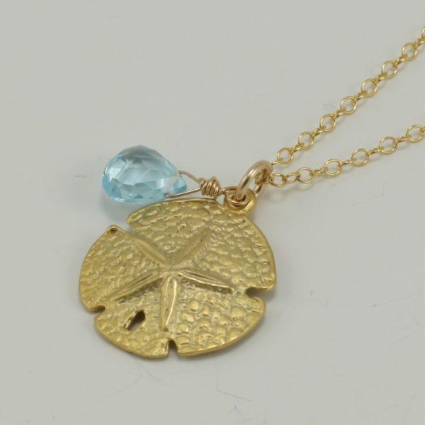 gold sand dollar necklace, gold sand dollar pendant