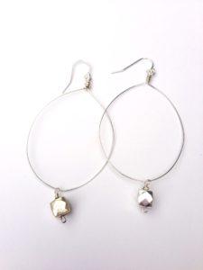 Sterling silver pyrite gemstone earrings