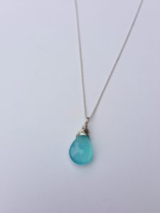ligh blue chalcedony necklace