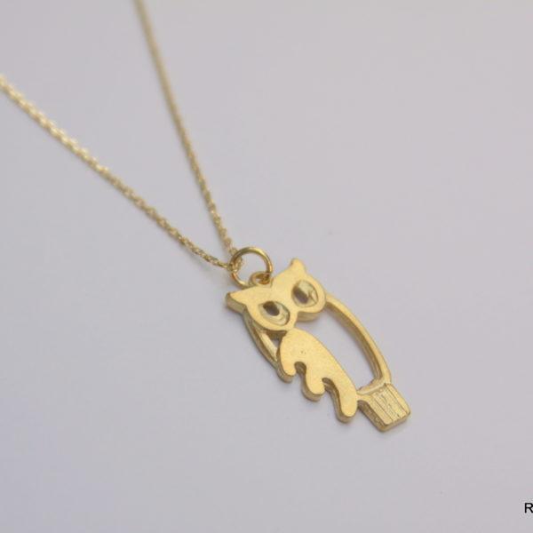 large owl charm necklace