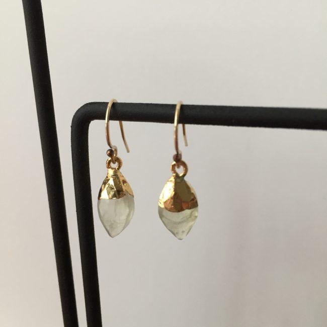 gold perhnite gemstone earrings