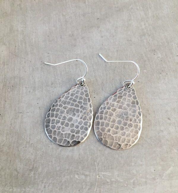 hammered silver drop earrings