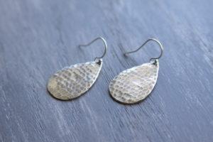 hammered silver teardrop earrings