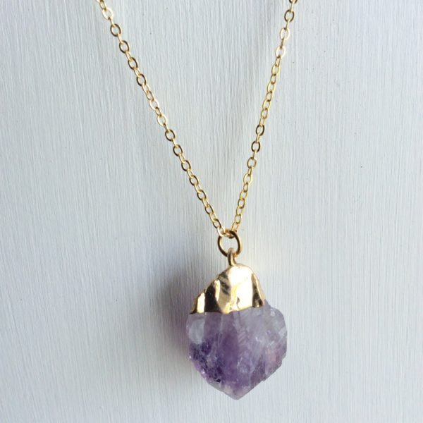 rough cut amethyst necklace