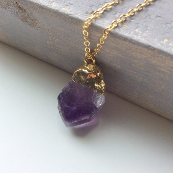 rough cut amethyst pendant