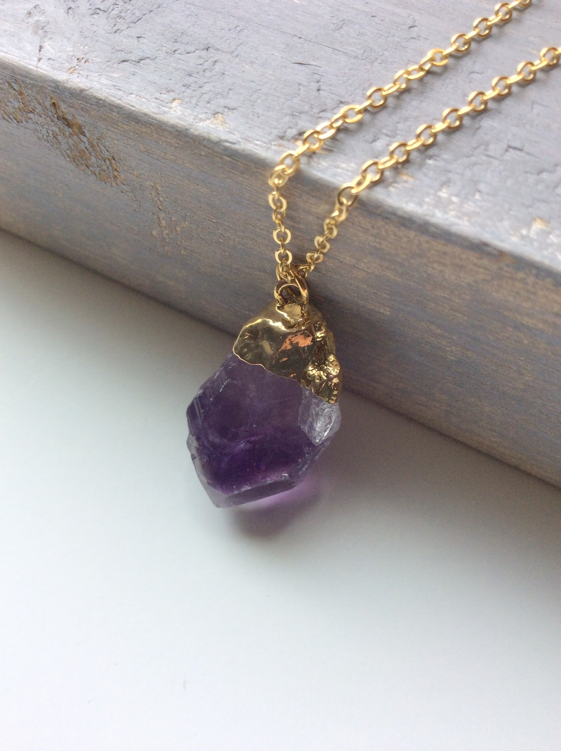 amethyst raw crystal pendant stone necklace drusy silver jewelry sterling with bail hammered handmade by lizardi