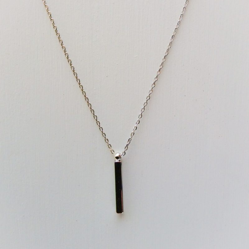 silver bar necklace vertical