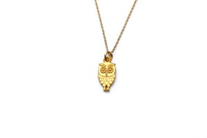 tiny owl necklace - gold