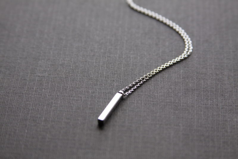 vertical silver bar necklace