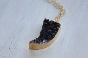 druzy horn necklace