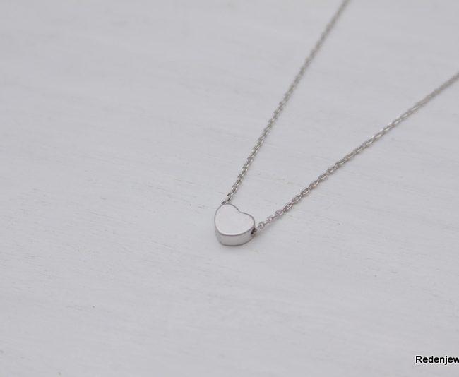 handmade silver heart necklace