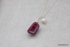 purple tiny druzy necklace