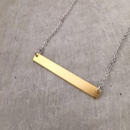 handmade gold bar necklace