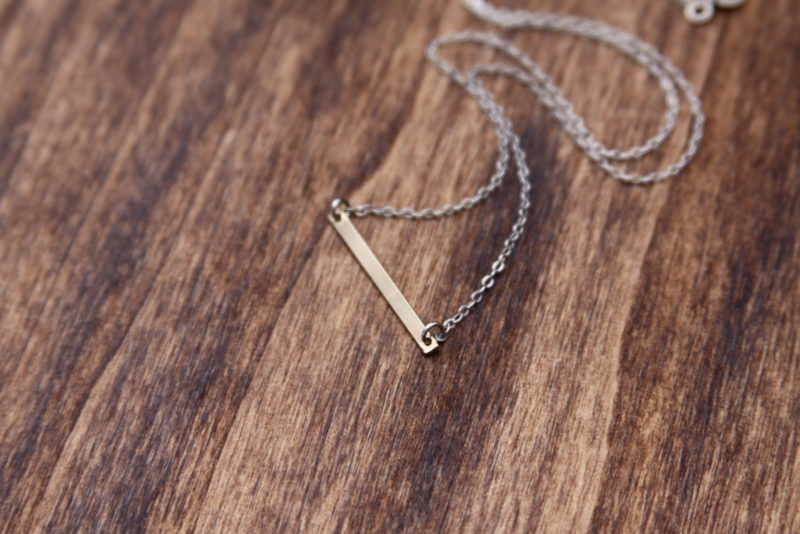 mixed metal bar necklace