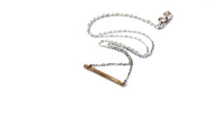 thin gold bar necklace - mixed metal
