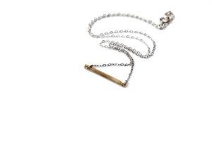 thin gold bar necklace - mixed metal