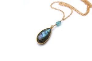 gold labradorite necklace