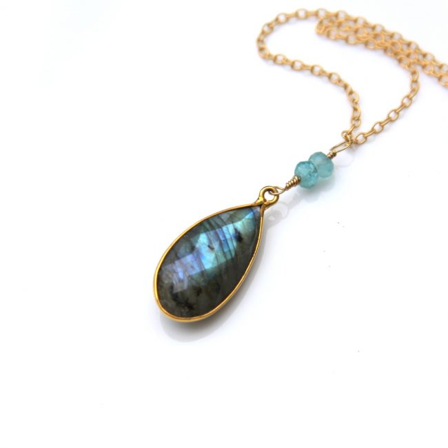 gold labradorite necklace