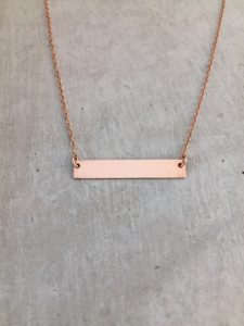 handmade rose gold bar necklace