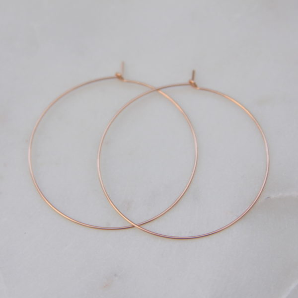 thin rose gold hoops