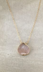 peach druzy necklace