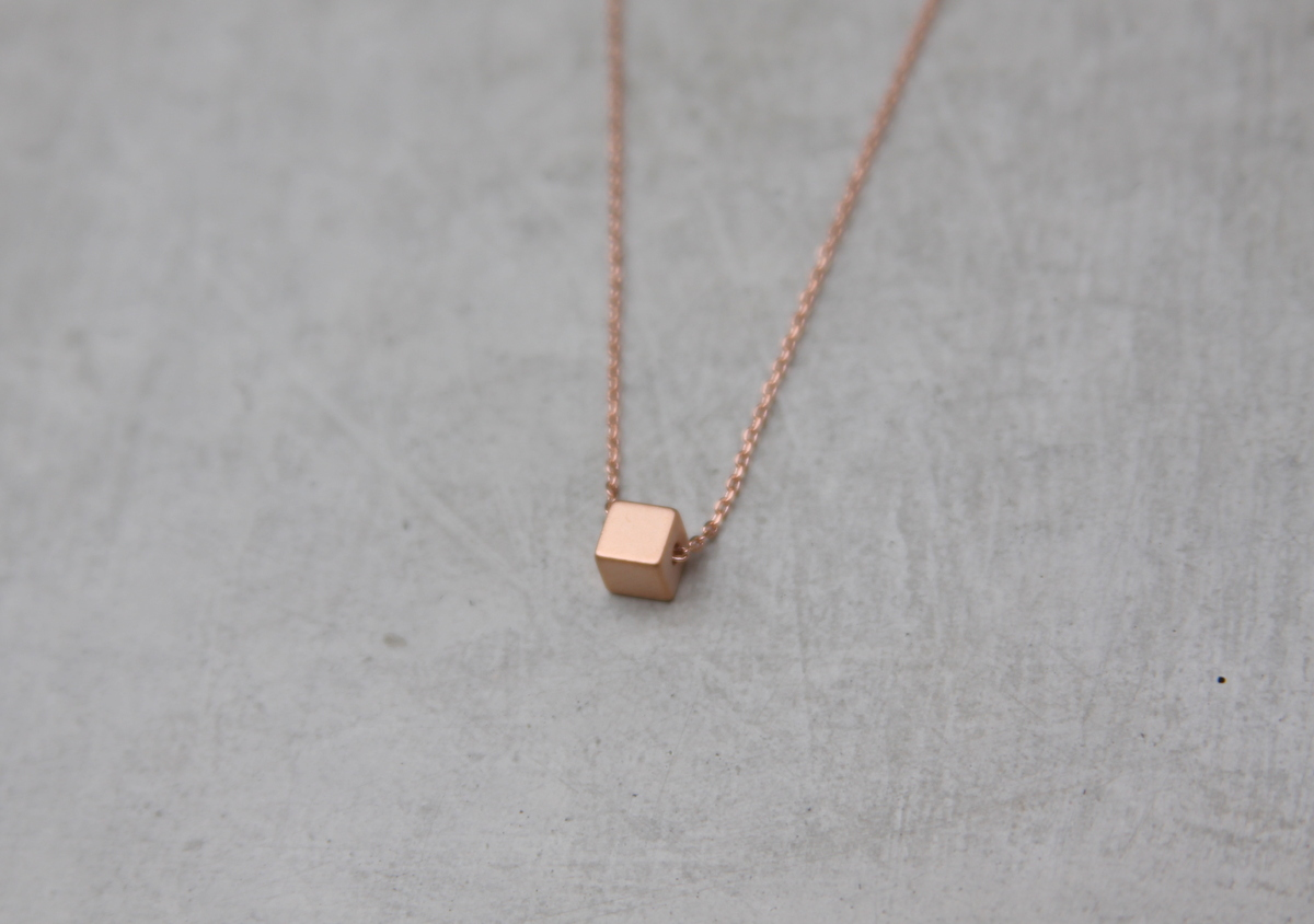 necklace sterling silver square apop pendant plated gold plain inch products rose