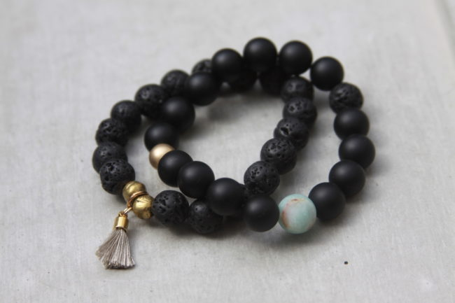 Black Beaded Lava Bead Bracelet Set Reija Eden Jewelry