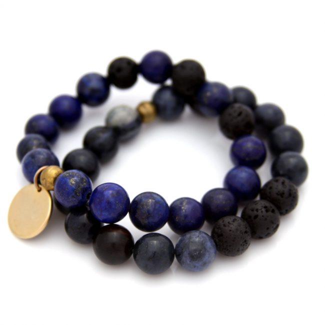 lapis gemstone bracelet set