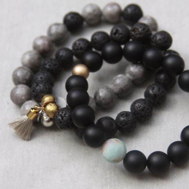 handmade black and grey beaded bracelets