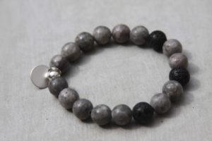 handmade grey beaded gemstone bracelet