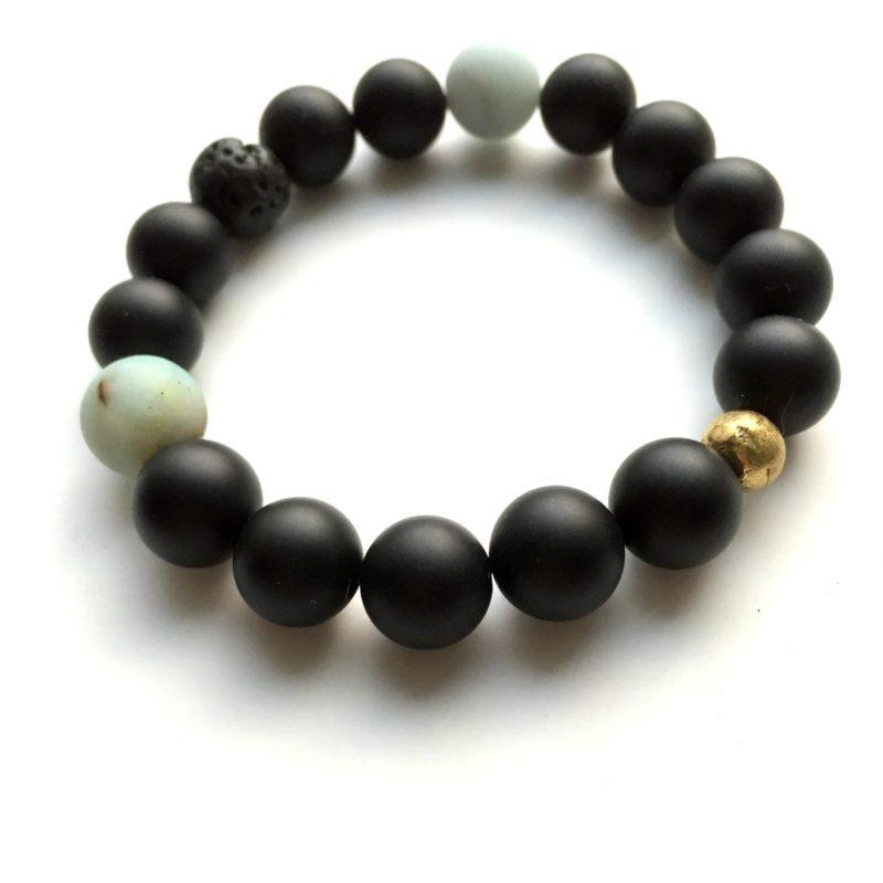 matte onyx gemstone bracelet - essential oil diffuser bracelet