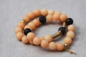 orange beaded bracelet set