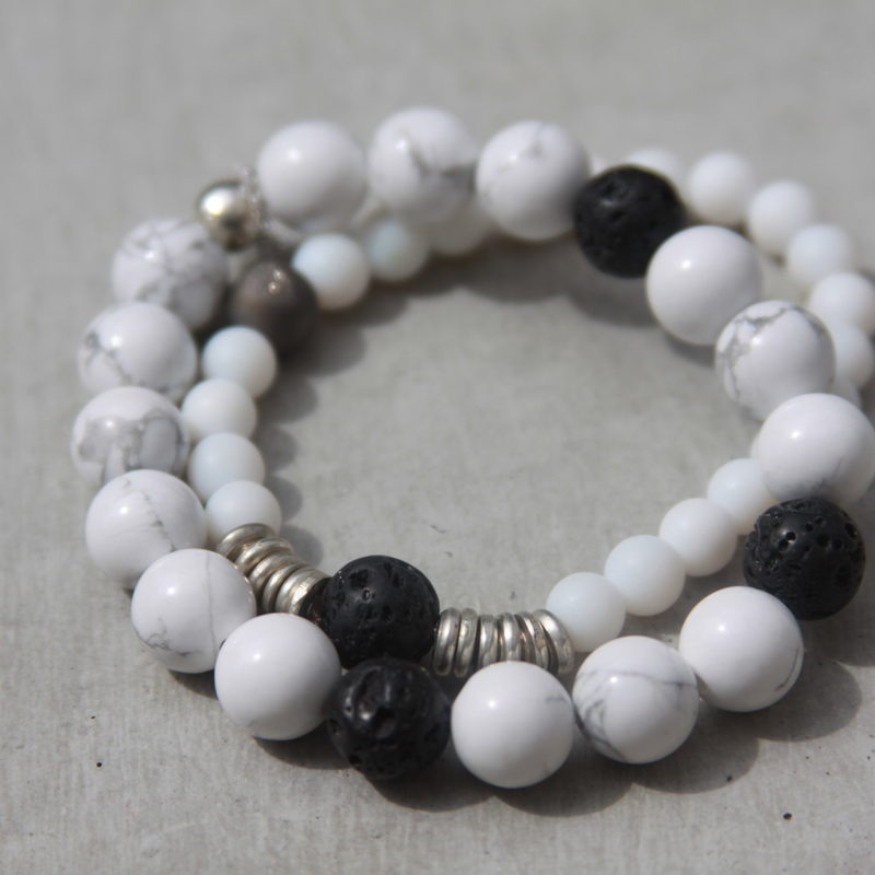 white beaded gemstone bracelets