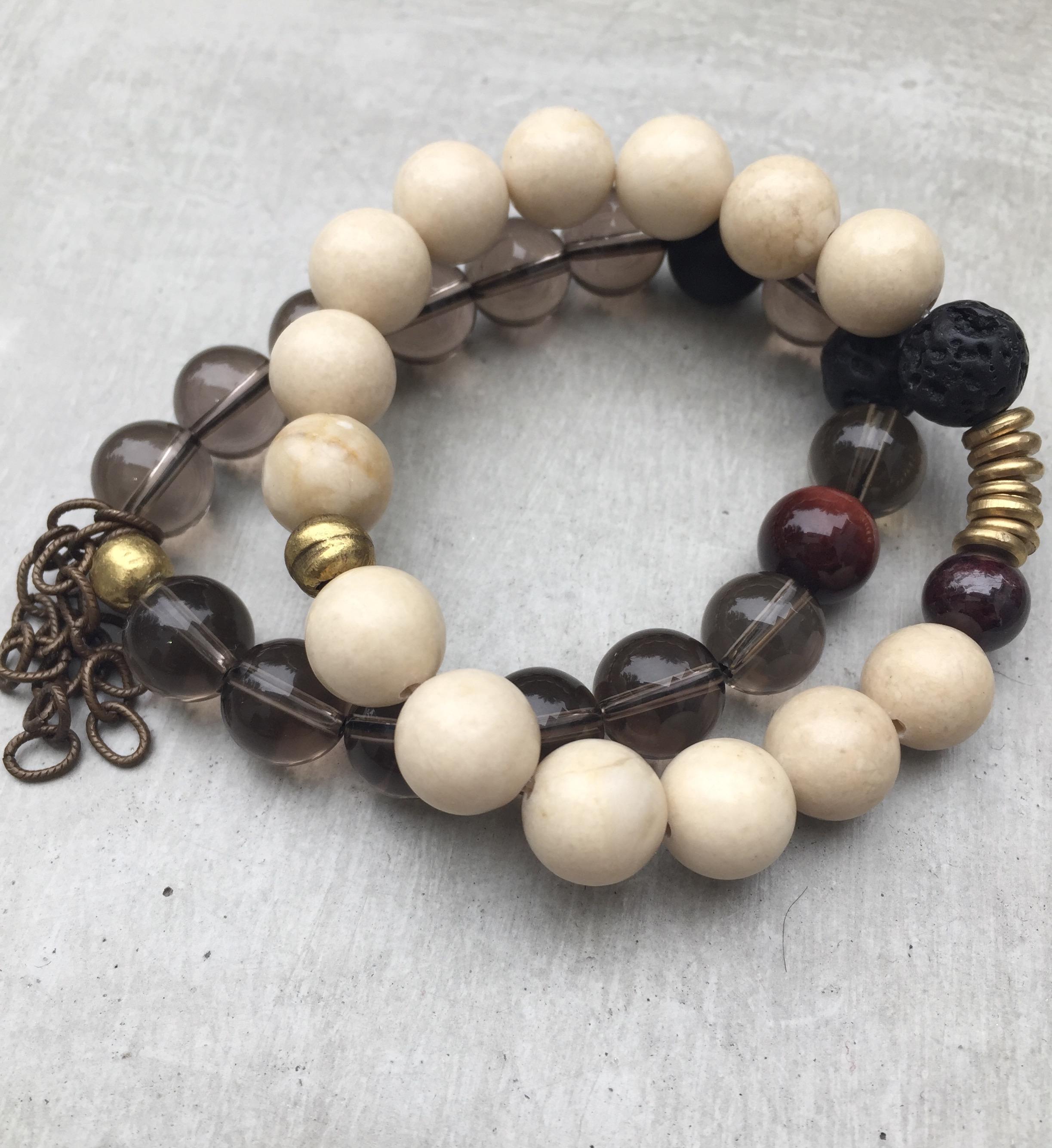 Smoky Quartz Gemstone Bracelet Set