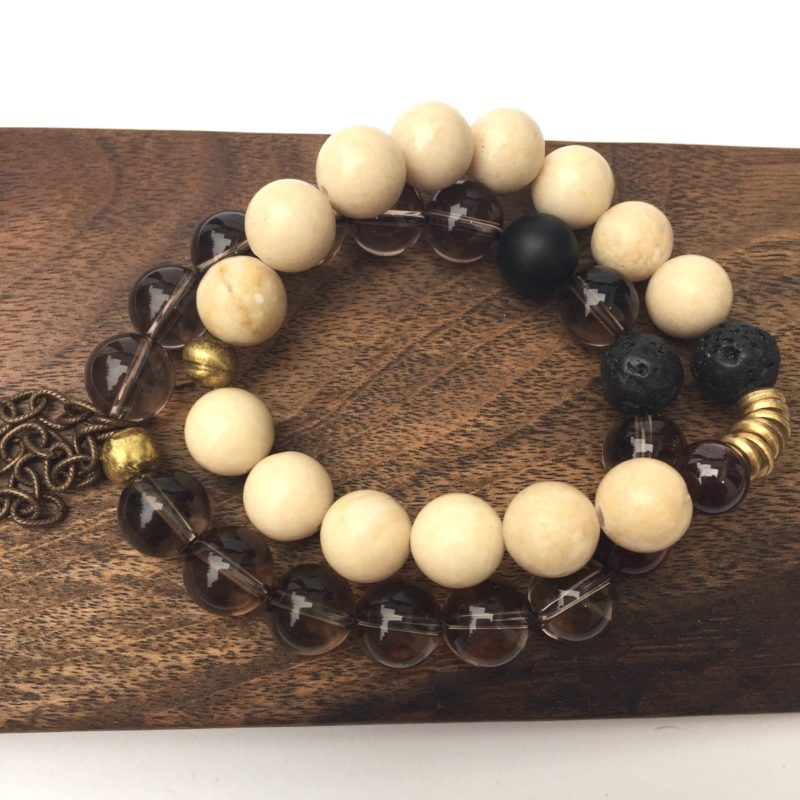 smoky quartz gemstone bracelet set