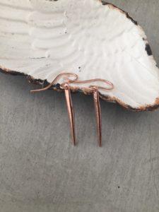 handmade rose gold spike earrings