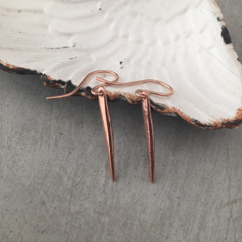 handmade rose gold spike earrings