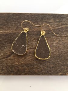brown druzy gemstone earrings